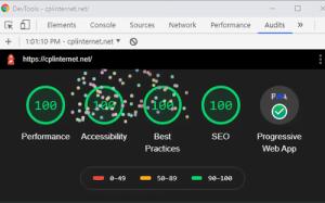 cplinternet.net website performance test using Lighthouse